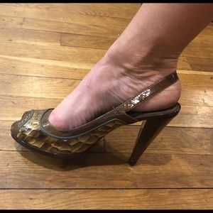 Paolo Leather open toe Pumps size 7.5